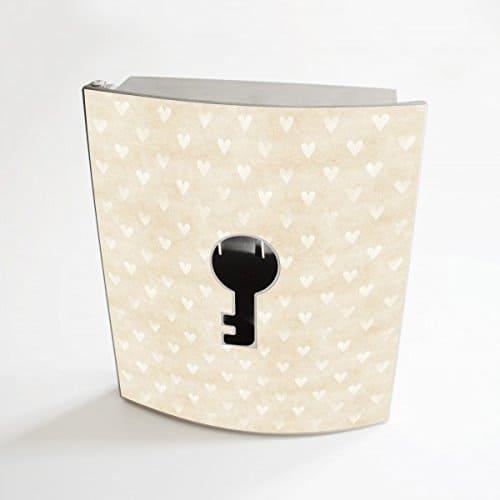 banjado - Design Schlüsselbox aus Edelstahl 20cmx23cmx6cm mit Motiv Beige Herzen