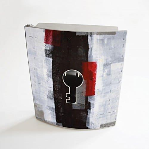 banjado - Design Schlüsselbox aus Edelstahl 20 cm x 23 cm x 6 cm mit Motiv Abstrakt Rot