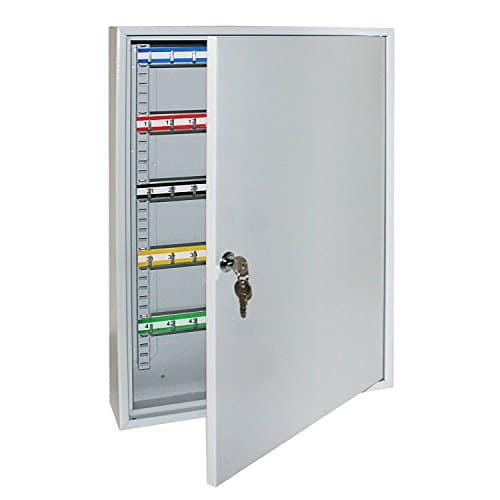Schlüsselkasten / Schlüsselschrank 550 x 380 x 80 mm, 100 Haken, lichtgrau