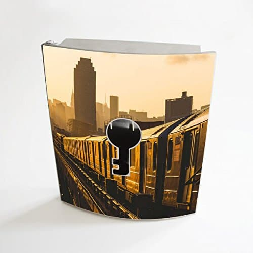 banjado - Edelstahl Schlüsselkasten 20 cm x 23 cm x 6 cm mit Motiv U-Bahn New York
