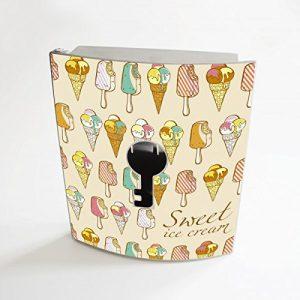 banjado - Edelstahl Schlüsselkasten 20cm x 23cm x 6cm mit Motiv Sweet Ice Cream