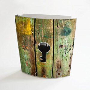 banjado - Design Schlüsselbox aus Edelstahl 20cmx23cmx6cm mit Motiv Grünes Holz