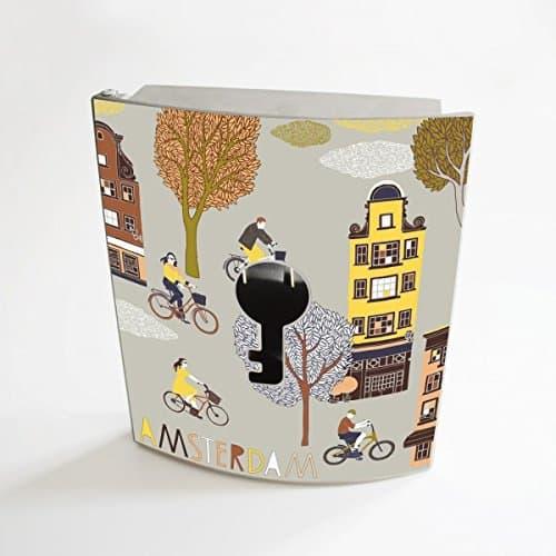 banjado - Design Schlüsselbox aus Edelstahl 20cmx23cmx6cm mit Motiv Amsterdam Print