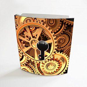 banjado - Edelstahl Schlüsselkasten 20cm x 23cm x 6cm mit Motiv Zahnräder
