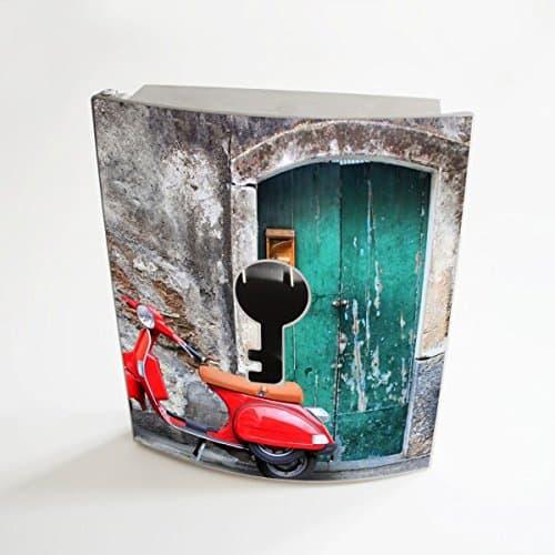 banjado - Edelstahl Schlüsselkasten 20cm x 23cm x 6cm mit Motiv Italienischer Roller