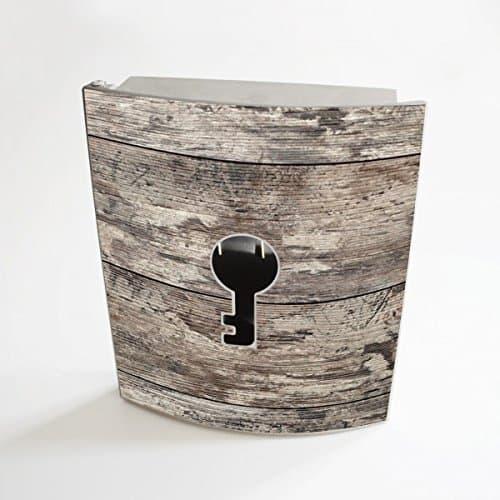 banjado - Edelstahl Schlüsselkasten 20cm x 23cm x 6cm mit Motiv Alte Planken