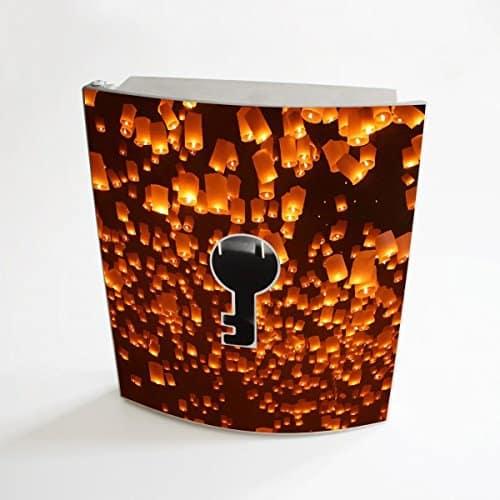 banjado - Design Schlüsselbox aus Edelstahl 20cmx23cmx6cm mit Motiv Himmelslaterne