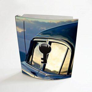 banjado - Design Schlüsselbox aus Edelstahl 20cmx23cmx6cm mit Motiv Auto am Strand